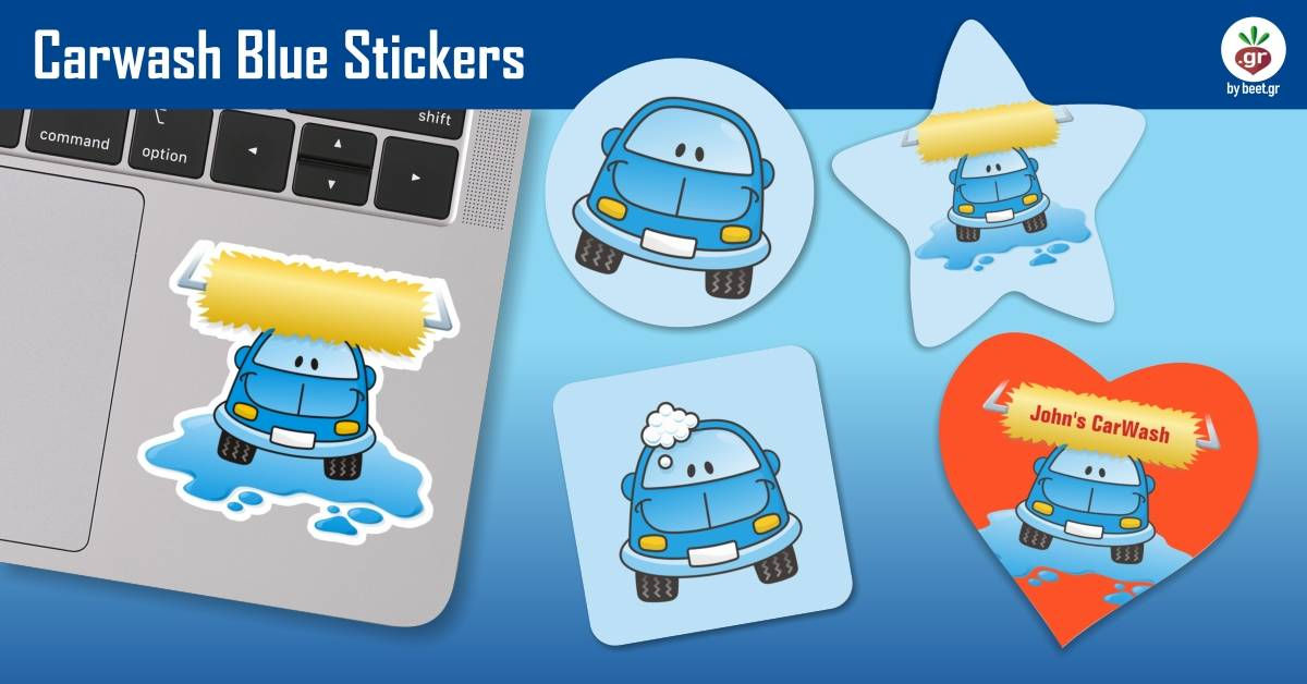 Carwash Blue Stickers