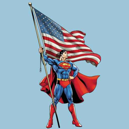 Superman Holding US Flag