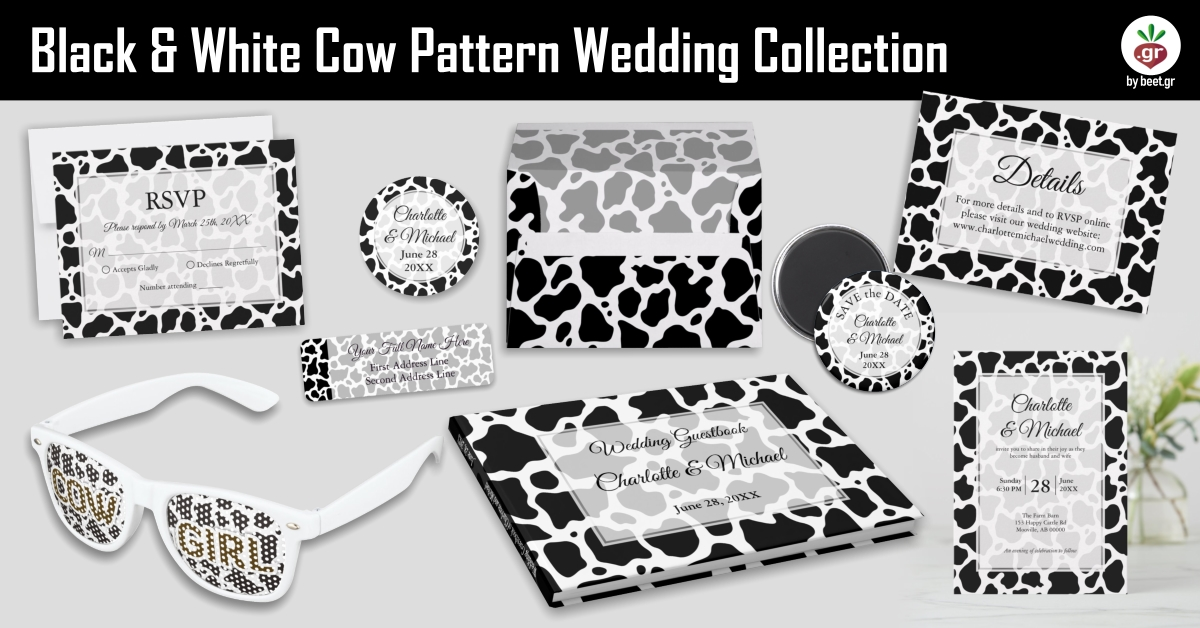 Black and White Cow Pattern Wedding Collection
