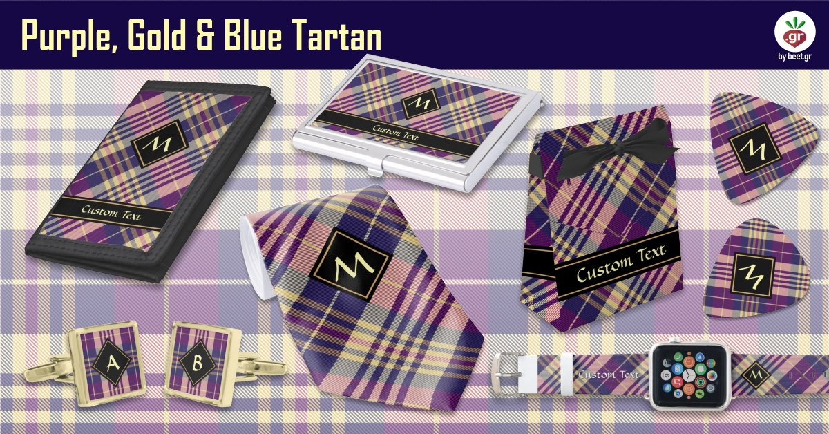 Purple, Gold and Blue Tartan